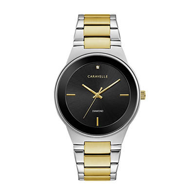 Caravelle Men's Modern Dial Watch in Gold Tone Stainless Steel