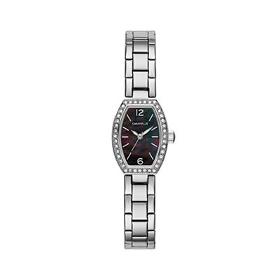 Caravelle Women's Crystal Barrel Watch in Stainless Steel and Black Mo