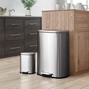 Neu Home 50L Stainless Steel Trash Can with Bonus 5L Trash Can