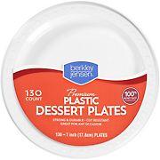 "Berkley Jensen 7"" White Plastic Dessert Plates, 130 ct"