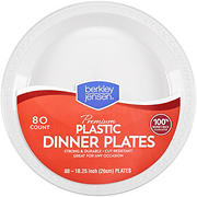 "Berkley Jensen 10"" White Plastic Dinner Plates, 80 ct."