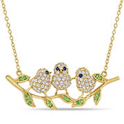 1 2/5 ct. t.w. Created Blue and White Sapphire Three Birds On a Branch Pendant in Yellow Plated Sterling Silver
