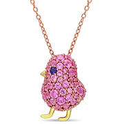 2 3/8 ct. t.w. Created Blue and Pink Sapphire Bird Cluster Pendant in Yellow Plated Sterling Silver