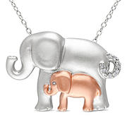 1/20 ct. t.w. Diamond Elephant Pendant in Two-Tone Sterling Silver