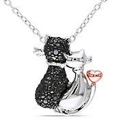 1/50 t.w. ct. Black Diamond Two-Tone Kitten Necklace in Sterling Silver