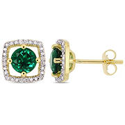 1 ct. t.w. Emerald and Diamond Accent Stud Earrings in 10k Yellow Gold
