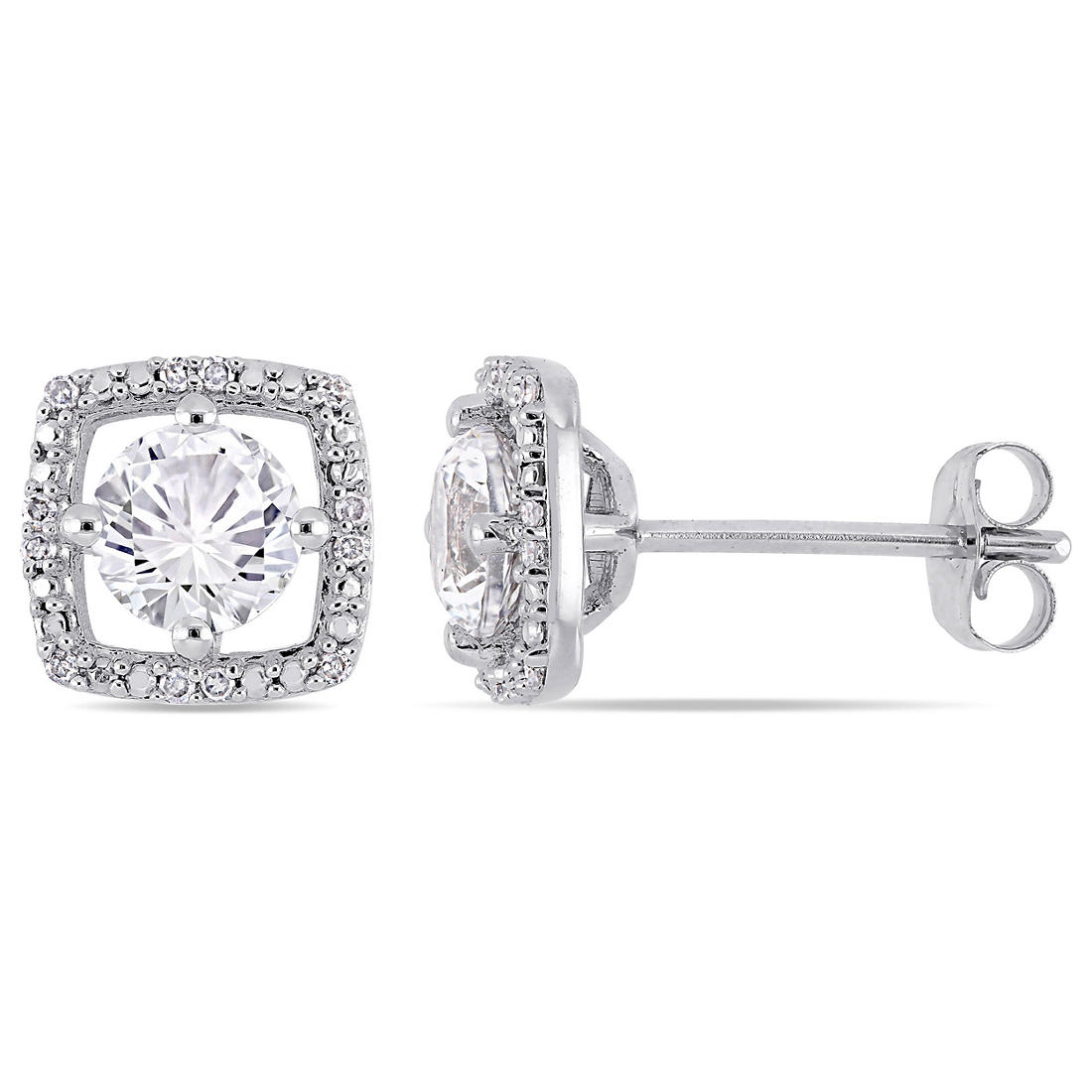 1 3 Ct T W White Shire And Diamond Stud Earrings In 10k Gold