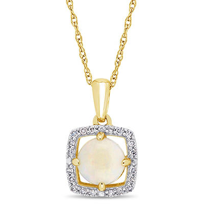5/8 ct. t.w. Opal and Diamond Pendant in 10k Yellow Gold