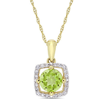 7/8 ct. t.w. Peridot and Diamond Pendant in 10k Yellow Gold