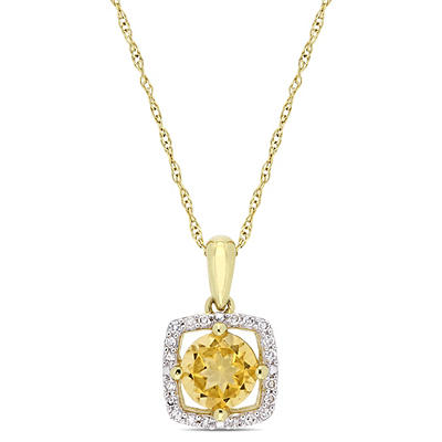 3/4 ct. t.w. Citrine and Diamond Accent Pendant in 10k Yellow Gold
