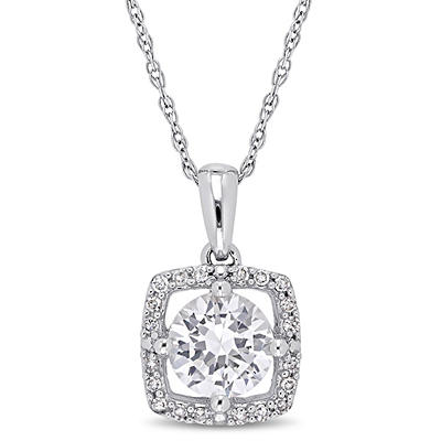 1 ct. t.w. White Sapphire and Diamond Pendant in 10k White Gold