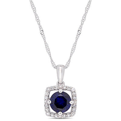 1 ct. t.w. Blue Sapphire and Diamond Accent Pendant in 10k White Gold