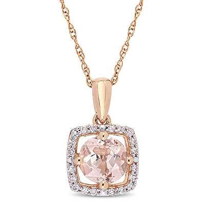 4/5 ct. t.w. Morganite and Diamond Accent Pendant in 10k Rose Gold