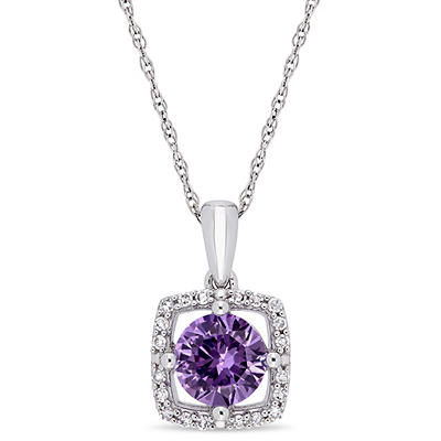1 ct. t.w. Alexandrite and Diamond Accent Pendant in 10k White Gold