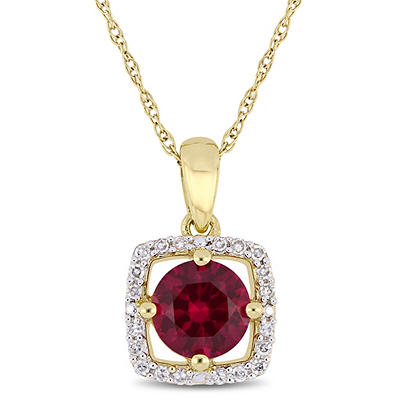 1 ct. t.w. Ruby and Diamond Accent Pendant in 10k Yellow Gold