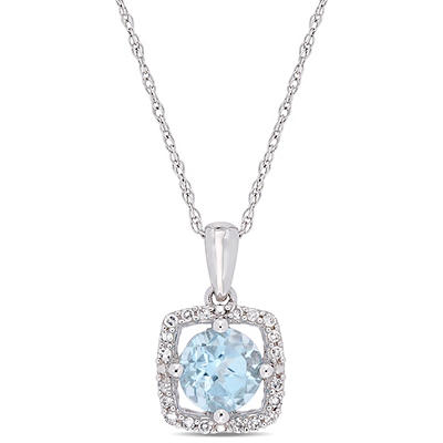 1 ct. t.w. Blue Topaz and Diamond Accent Pendant in 10k White Gold