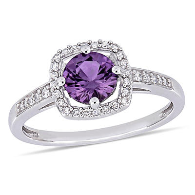1 ct. t.w. Alexandrite and Diamond Accent Halo Ring in 10k White Gold, Size 7