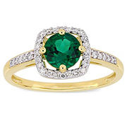 4/5 ct. t.w. Emerald and Diamond Accent Halo Ring in 10k Yellow Gold, Size 6