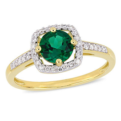 4/5 ct. t.w. Emerald and Diamond Accent Halo Ring in 10k Yellow Gold,