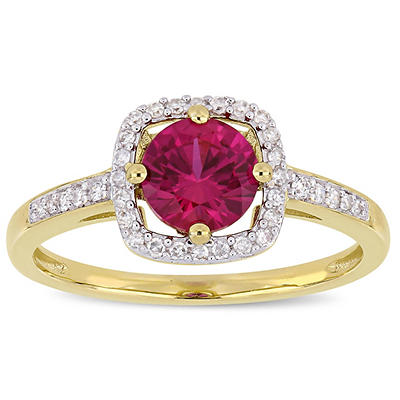 1 ct t.w. Ruby and Diamond Accent Halo Ring in 10k Yellow Gold, Size 6
