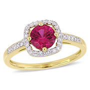 1 ct t.w. Ruby and Diamond Accent Halo Ring in 10k Yellow Gold, Size 9