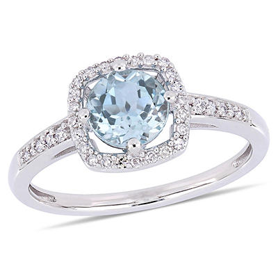 1 ct. t.w. Blue Topaz and Diamond Accent Halo Ring in 10k White Gold,