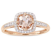 4/5 ct. t.w. Morganite and Diamond Accent Halo Ring in 10k Rose Gold, Size 6