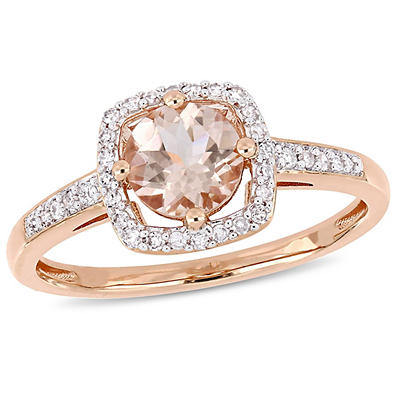 4/5 ct. t.w. Morganite and Diamond Accent Halo Ring in 10k Rose Gold, Size 7