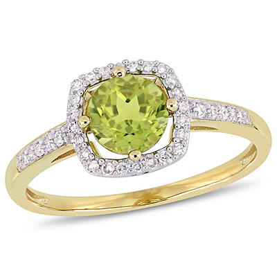 7/8 ct. t.w. Peridot and Diamond Accent Halo Ring in 10k Yellow Gold,