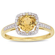 3/4 ct. t.w. Citrine and Diamond Accent Halo Ring in 10k Yellow Gold, Size 6