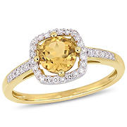 3/4 ct. t.w. Citrine and Diamond Accent Halo Ring in 10k Yellow Gold, Size 7