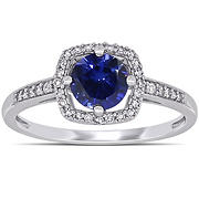 1 ct. t.w. Blue Sapphire and Diamond Accent Halo Ring in 10k White Gold, Size 6