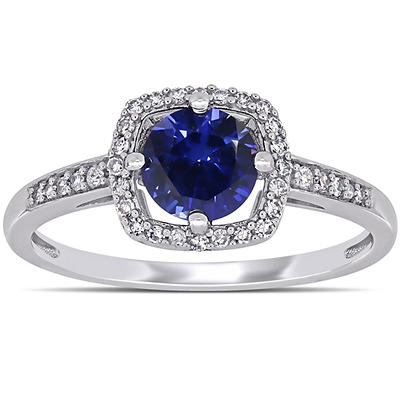 1 ct. t.w. Blue Sapphire and Diamond Accent Halo Ring in 10k White Gol