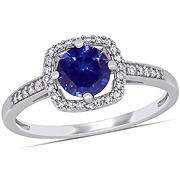 1 ct. t.w. Blue Sapphire and Diamond Accent Halo Ring in 10k White Gold, Size 7