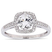 1 ct. t.w. White Sapphire and Diamond Accent Halo Ring in 10k White Gold, Size 6
