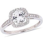 1 ct. t.w. White Sapphire and Diamond Accent Halo Ring in 10k White Gold, Size 7
