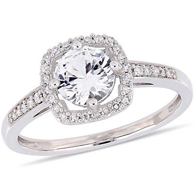 1 ct. t.w. White Sapphire and Diamond Accent Halo Ring in 10k White Go
