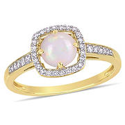5/8 ct. t.w. Opal and Diamond Accent Halo Ring in 10k Yellow Gold, Size 5