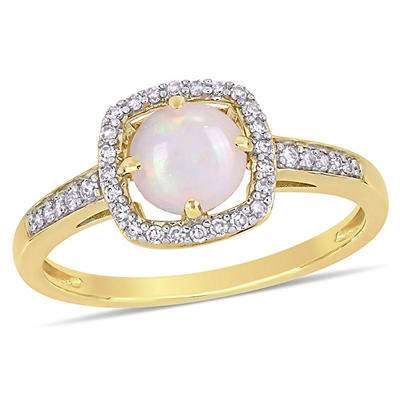 5/8 ct. t.w. Opal and Diamond Accent Halo Ring in 10k Yellow Gold, Size 9