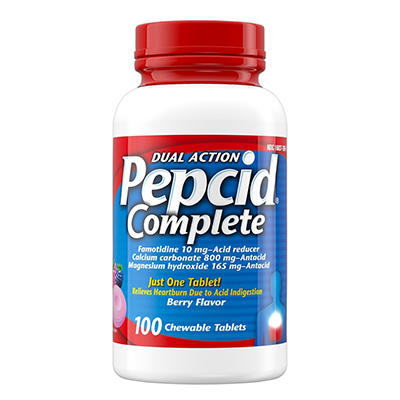 Pepcid Complete All-Day Heartburn Symptom Relief Tablets, Berry Flavor