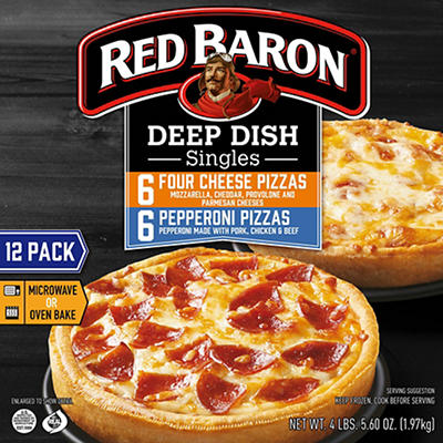 Red Baron Singles Deep Dish Pizza Variety, 12 ct.
