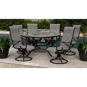 Berkley Jensen Rowley 7PC Aluminum Sling Dining Set with Lazy Susan- Brown