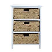 JM Three Tier Wood Tower Shelf w/ Basket Drawers