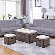 Berkley Jensen 3-Pc. Crate Style Ottoman Set