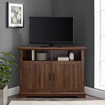 """W. Trends 44"""" Grooved Door Corner TV Stand for TVs Up to 48"""" - Dark Wa"""