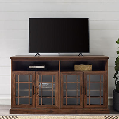 "W. Trends 58"" Tall Wood TV Stand for TVs Up to 64"" - Dark Walnut"