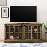 "W. Trends 58"" Farmhouse 4 Door TV Stand for Most TV's up to 65"" - Rustic Oak"