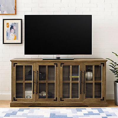 """W. Trends 58"""" Farmhouse 4 Door TV Standfor TVs Up to 64"""" - Rustic Oak"""