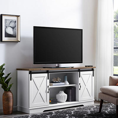 "W. Trends 58"" Sliding Door TV Stand for TVs Up to 64"" - Brown White"