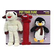 Multipet International Lambchop/Loofa/Penguin Dog Toys - Red